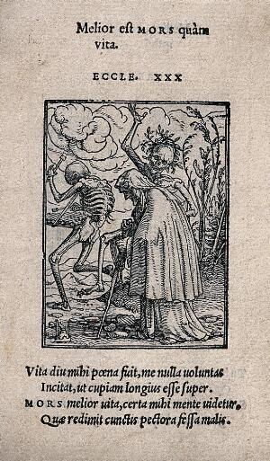 view The dance of death: the old woman. Woodcut by Hans Holbein the younger.