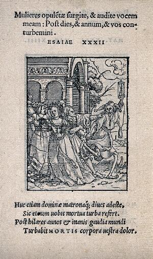 view The dance of death: the queen. Woodcut by Hans Holbein the younger.