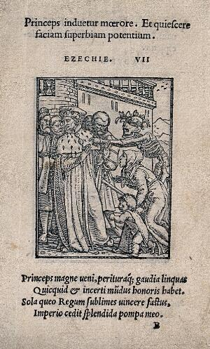 view The dance of death: the duke. Woodcut by Hans Holbein the younger.