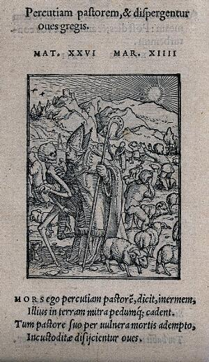 view The dance of death: the bishop. Woodcut by Hans Holbein the younger.
