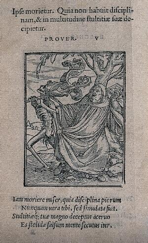 view The dance of death: the abbot. Woodcut by Hans Holbein the younger.