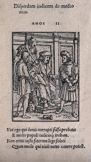 view The dance of death: the judge. Woodcut by Hans Holbein the younger.