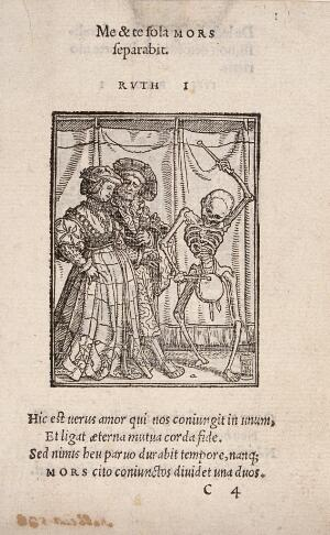 view The dance of death: the lady. Woodcut by Hans Holbein the younger.