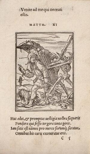 view The dance of death: the pedlar. Woodcut by Hans Holbein the younger.