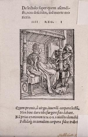 view The dance of death: the duchess. Woodcut by Hans Holbein the younger.