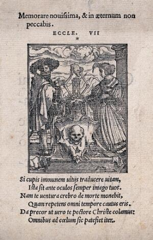 view The dance of death: the escutcheon of death. Woodcut by Hans Holbein the younger.