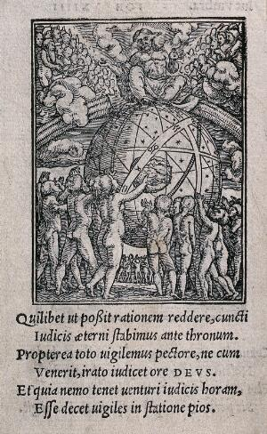 view The dance of death: the last judgment. Woodcut by Hans Holbein the younger.