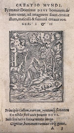 view The dance of death: the creation. Woodcut by Hans Holbein the younger.