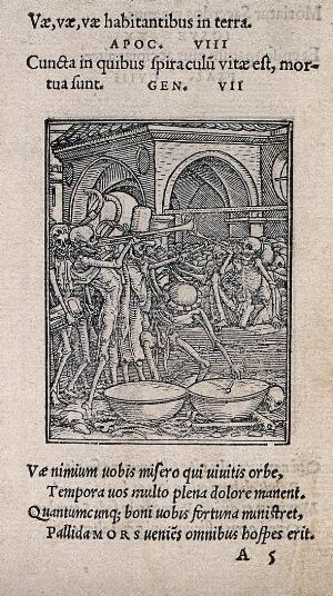 view The dance of death: bones of all men. Woodcut by Hans Holbein the younger.