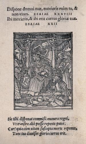 view The dance of death: the emperor. Woodcut by Hans Holbein the younger.