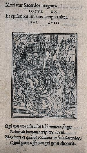 view The dance of death: the pope. Woodcut by Hans Holbein the younger.