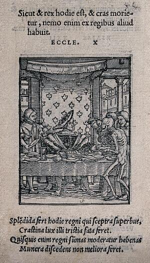 view The dance of death: the king. Woodcut by Hans Holbein the younger.