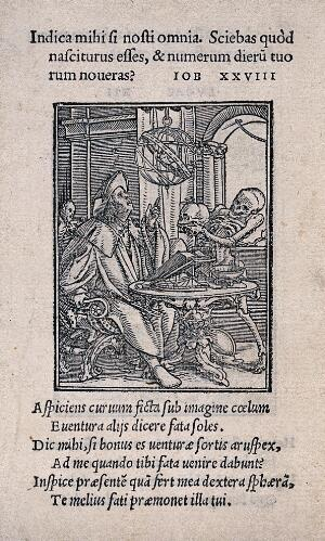 view The dance of death: the astrologer. Woodcut by Hans Holbein the younger.