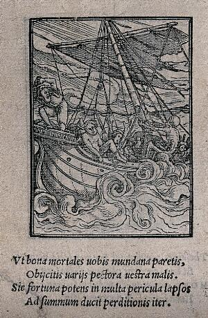 view The dance of death: the seaman. Woodcut by Hans Holbein the younger.