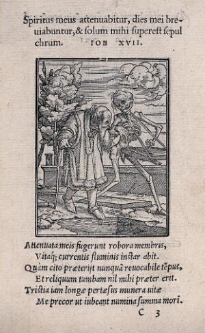 view The dance of death: the old man. Woodcut by Hans Holbein the younger.