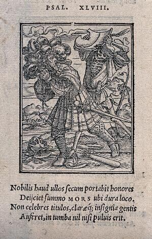 view The dance of death: the count. Woodcut by Hans Holbein the younger.