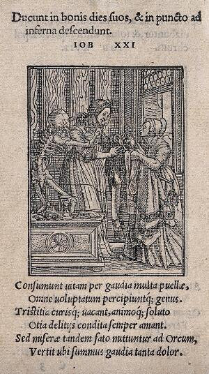 view The dance of death: the countess. Woodcut by Hans Holbein the younger.