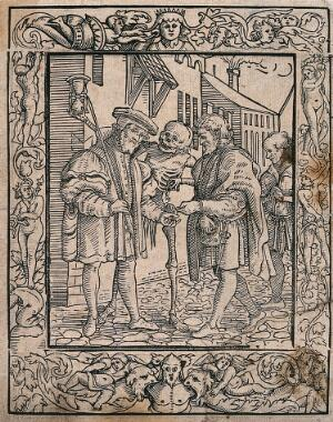 view The dance of death: the advocate. Woodcut after Hans Holbein the younger.