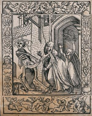 view The dance of death: the abbess. Woodcut after Hans Holbein the younger.
