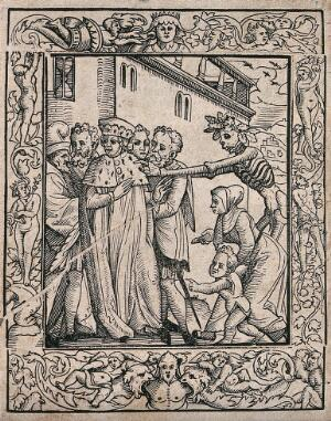 view The dance of death: the duke. Woodcut after Hans Holbein the younger.