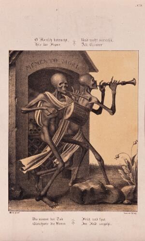 view The dance of death at Basel; skeletons playing the pipe and the drum to accompany the dance. Lithograph by Danzer after H. Hess.