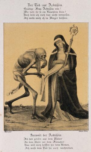 view The dance of death at Basel: death and the abbess. Lithograph by G. Danzer after H. Hess.