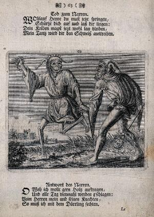 view Dance of death: death and the fool. Etching and letterpress attributed to J.-A. Chovin, 1720-1776, after the Basel dance of death.