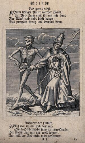 view Dance of death: death and the pope. Etching and letterpress attributed to J.-A. Chovin, 17--, after the Basel dance of death.