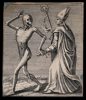 view Dance of death: death and the bishop. Etching attributed to J.-A. Chovin, 1720-1776, after the Basel dance of death.