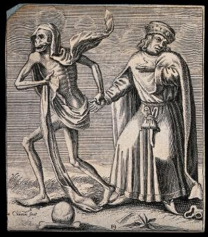 view The dance of death: death and the merchant or the usurer (?). Etching attributed to J.-A. Chovin after the Basel dance of death.