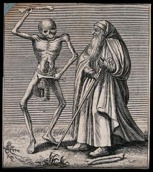 view Dance of death: death and the hermit. Etching attributed to J.-A. Chovin, 1720-1776, after the Basel dance of death.