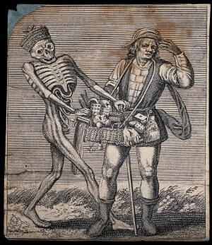 view Dance of death: death and the pedlar. Etching attributed to J.-A. Chovin, 1720-1776, after the Basel dance of death.