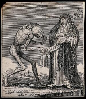 view Dance of death: death and the abbess. Etching attributed to J.-A. Chovin, 1720-1776, after the Basel dance of death.