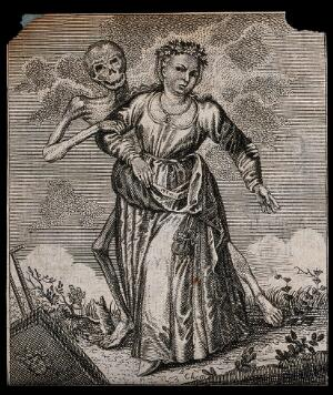 view Dance of death: death and the maiden. Etching attributed to J.-A. Chovin, 1720-1776, after the Basel dance of death.