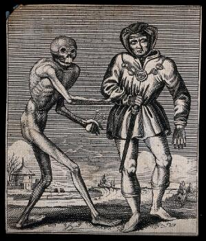 view Dance of death: death and the herald (?). Etching attributed to J.-A. Chovin, 1720-1776, after the Basel dance of death.