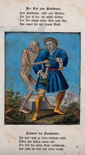 view Dance of death: death and the merchant. Coloured etching and letterpress after J.-A. Chovin after the Basel dance of death.