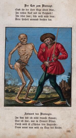 view Dance of death: death and the executioner. Coloured etching and letterpress after J.-A. Chovin after the Basel dance of death.