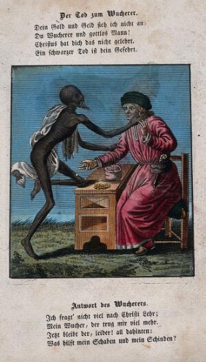 view Dance of death: death and the usurer. Coloured etching and letterpress after J.-A. Chovin after the Basel dance of death.
