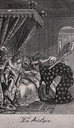 view The dance of death: the queen. Etching by D.-N. Chodowiecki, 1791, after himself.