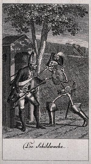 view The dance of death: the sentinel. Etching by D.-N. Chodowiecki, 1791, after himself.