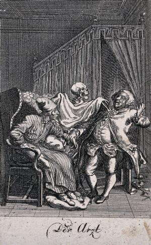 view The dance of death: the doctor. Etching by D.-N. Chodowiecki, 1791, after himself.