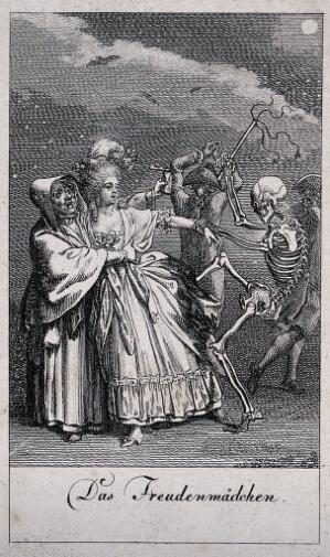 view The dance of death: death and the prostitute. Etching by D.-N. Chodowiecki, 1791, after himself.