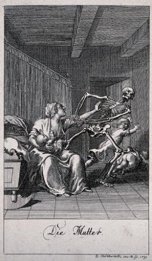 view The dance of death: death and the mother. Etching by D.-N. Chodowiecki, 1791, after himself.