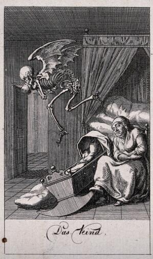 view The dance of death: death and the child. Etching by D.-N. Chodowiecki, 1791.
