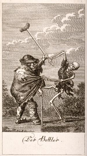 view The dance of death: death and the beggar. Etching by D.-N. Chodowiecki, 1791, after himself.