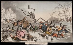 view The dance of death: skaters. Coloured aquatint by T. Rowlandson, 1816.
