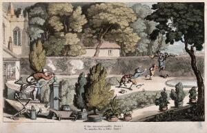 view The dance of death: the urchin robbers. Coloured aquatint by T. Rowlandson, 1816.