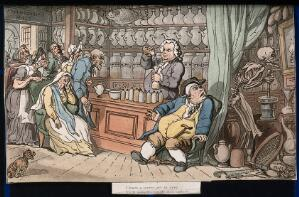 view The dance of death: the apothecary. Coloured aquatint by T. Rowlandson, 1816.