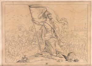 view The dance of death: Death, equipped with his scythe, is seen leading troops against their own fatherland. Drawing.
