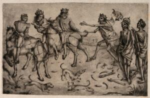 view The three living and the three dead. Collotype after the Master of the Housebook, 1488-1505.